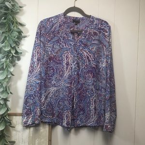 The Limited XL paisley 3 button pullover blouse